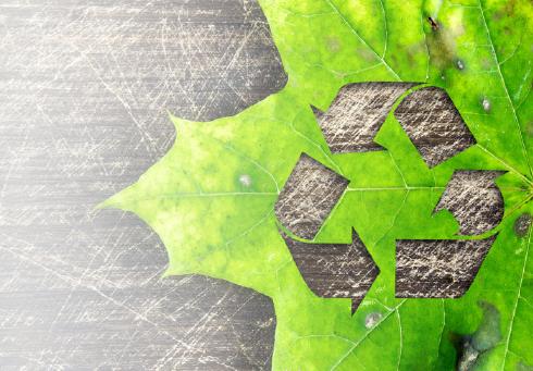 Hoja verde con símbolo de reciclaje